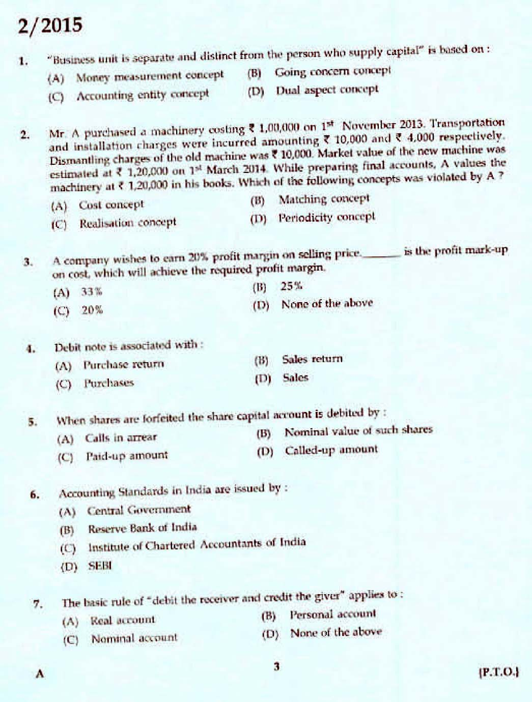 Kerala PSC Accounts Officer OMR Exam 2015 Question Paper