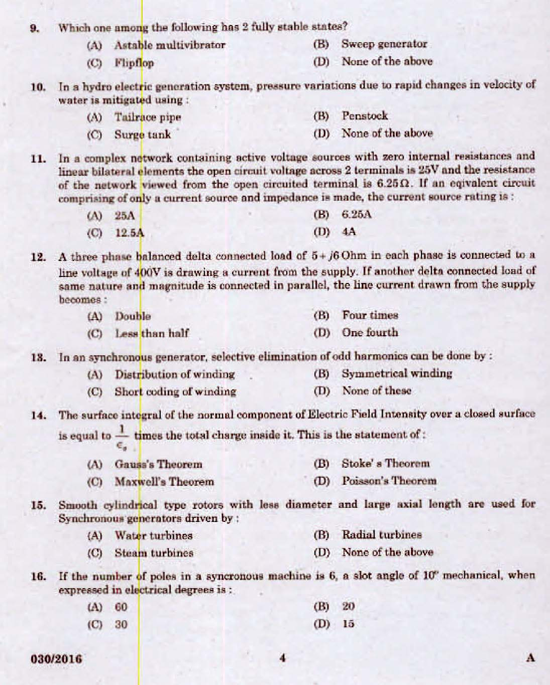 Kerala Psc Assistant Engineer Electrical Exam 2016 Question Paper Electric Circuit Questions Code 0302016 2
