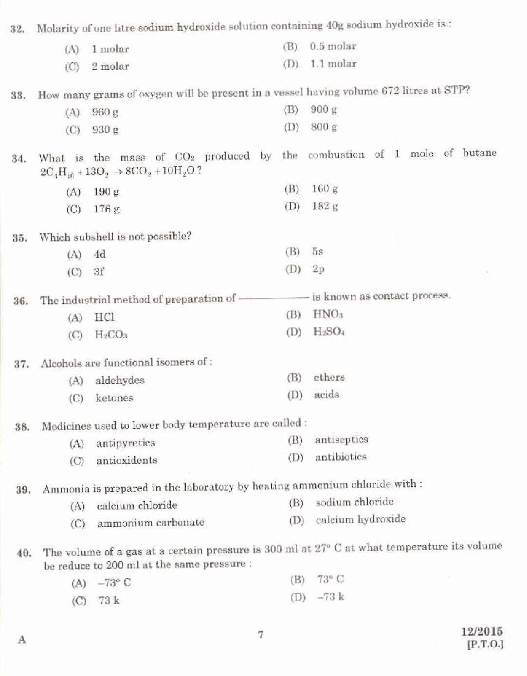 Kerala PSC Laboratory Assistant Exam 2015 Question Paper Code 122015