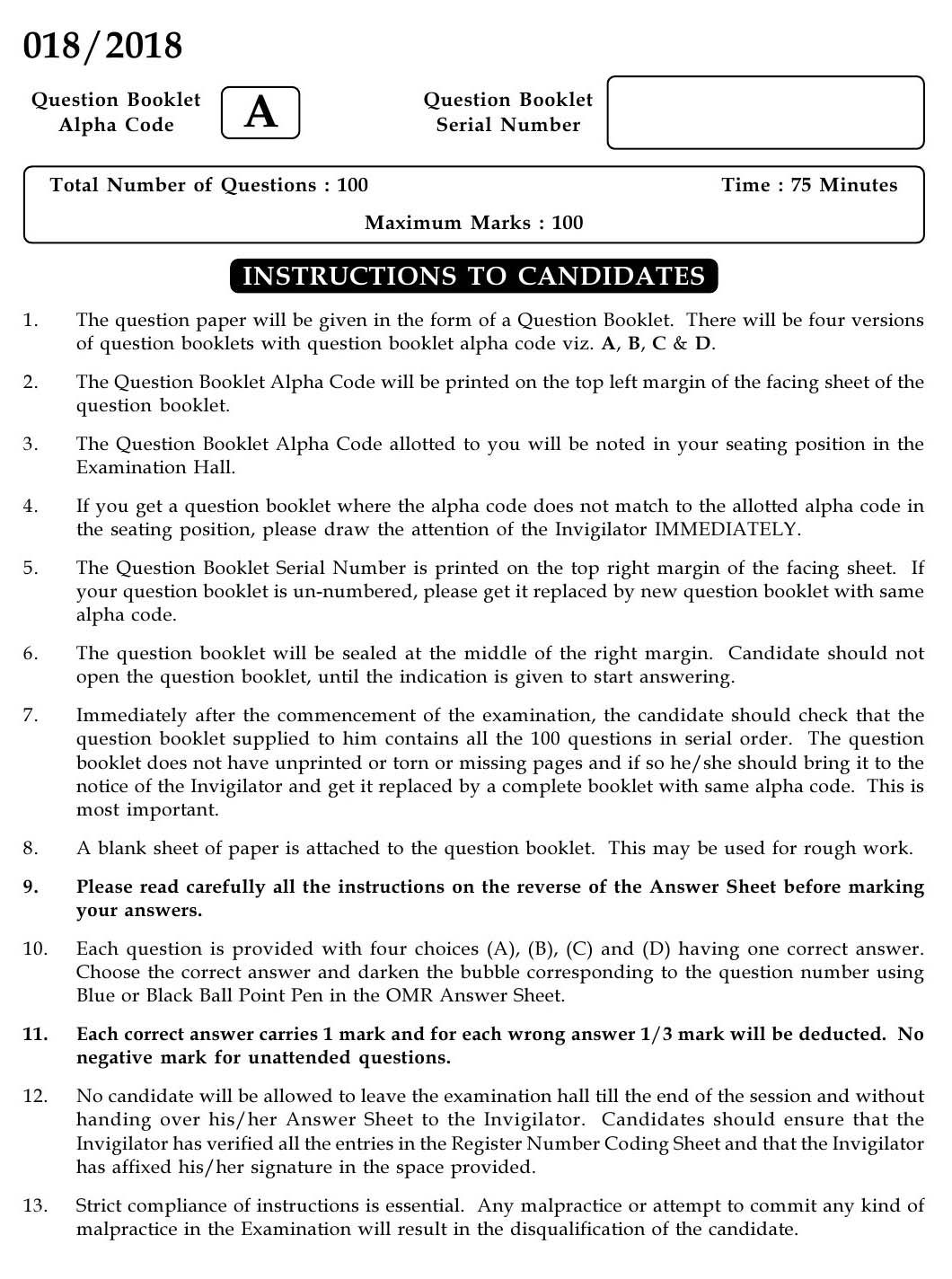 KPSC Staff Nurse Grade II Exam 2018 Code 0182018-Nurse