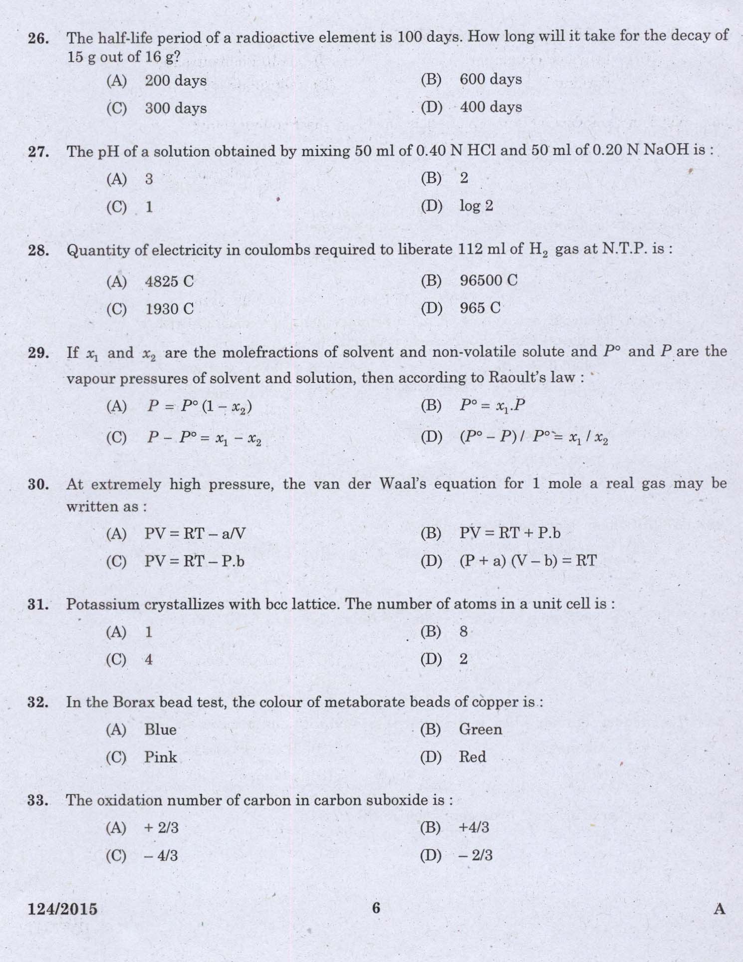 KPSC Technical Assistant Drugs Control Exam 2015 Code