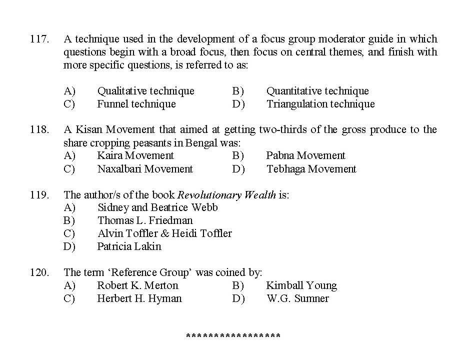 Kerala SET Sociology Exam 2015 Question Code 15630 State