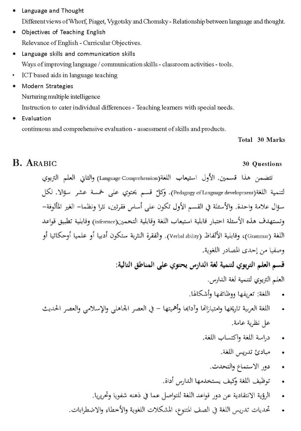 KTET Exam Syllabus for Category I Paper I Examination of The