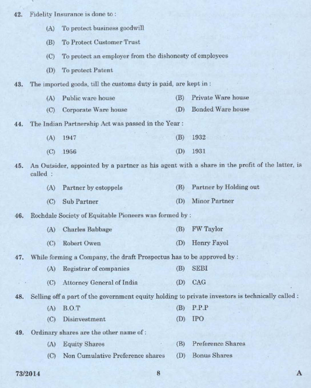 custom house agent exam question papers